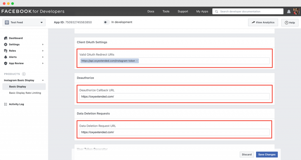 Client OAuth Settings, Deauthorize and Data Deletion Requests
