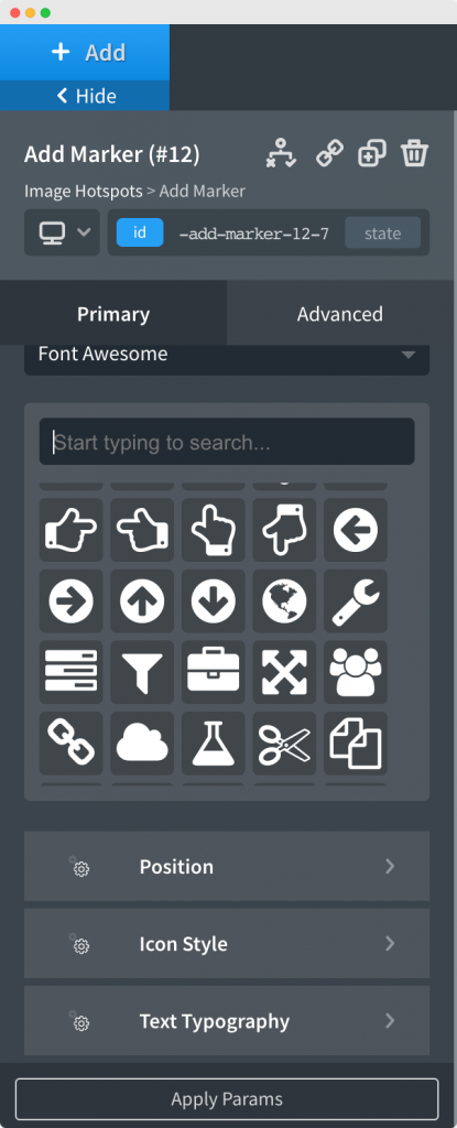Position and Styling of Icon/Image/Test in Marker