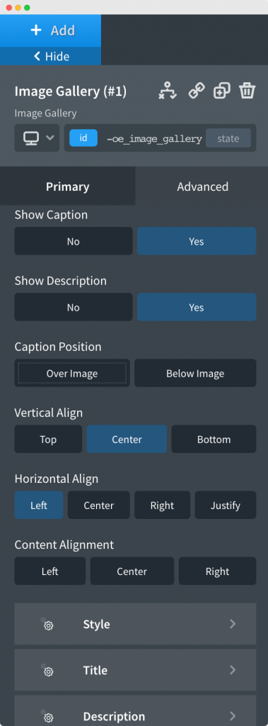 Caption tab in the Image Gallery Element